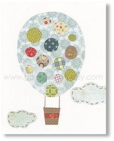 hot air balloon. fabric on canvas. use mod podge