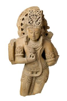 A red sandstone statue of a deity Central India, 12-13th century. Looking at the halo with spokes/rays, what looks like horses on his head-dress, the right hand close to the chest holding a lotus, am thinking this is Surya, the sun god. Anyone who can confirm or identify correctly, with an explanation?