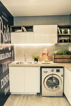 Compact laundry room with chalkboard wall! Compact Laundry, Tiny Laundry Rooms, Small Laundry, Laundry In Bathroom, Laundry Area, Laundry Decor, Laundry Room Design, Decoration Inspiration, Decor Ideas