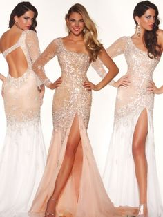 Mac Duggal Peach Pageant Dress 42587P: PageantDesigns.com