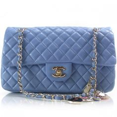 CHANEL Lambskin Heart Valentine Medium Flap Baby Blue 6e3ae51b53304