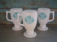Mid Century Milk Glass Pedestal Cups Mugs Turquoise Flowers $16