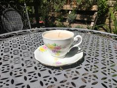These are made using upcycled vintage teacup and saucer sets, with unscented candle wax. The best part is, when the candle is done just wash the cup out with hot water and you can use the it for tea again! Teacup Candles, Candle Wax, Upcycled Vintage, Tea Cups, Canning, Tableware, Handmade, Etsy, Dinnerware