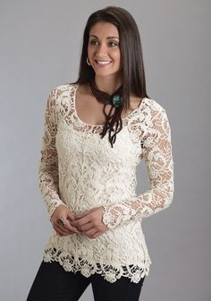 Don't like the neck thing but love the shirt Stetson® Women's Cream Crochet Lace Long Sleeve Western Tunic Country Outfits, Western Outfits, Western Wear For Women, Western Tops, Lace Tunic, Lace Tops, Crochet Lace, Crochet Tops, Blouses For Women
