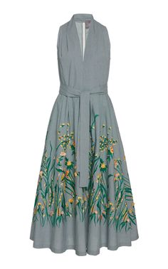 Belted V-Neck Dress by LELA ROSE for Preorder on Moda Operandi