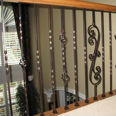 Iron Staircase Railing, Wrought Iron Stair Railing, Stair Railing Design, Iron Balusters, Metal Stairs, Metal Railings, Rod Iron Railing, Staircase Remodel, Industrial