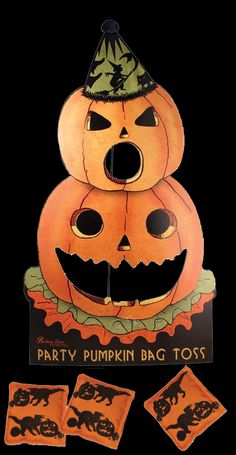 Party Pumpkin Bag Toss Halloween Game. $62 Everyone enjoys playing this Party Pumpkin Toss game. It's a super fun action Halloween activity. Your family and friends will laugh the night away making great party memories. Vintage Halloween Decorating & Retro Theme Party Ideas