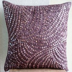 Throw Pillow Covers - 16x16 Inches Silk Pillow Cover with Wine color Mother of Pearl