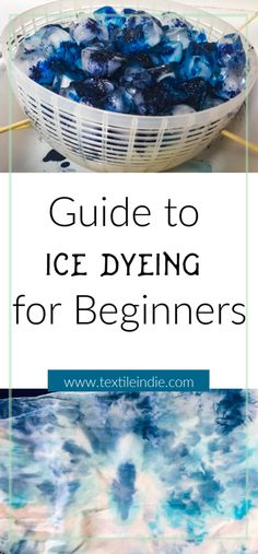 Feb 2020 - Ice dyeing is a dyeing technique using ice cubes and fiber reactive dyes to create a unique surface design on fabric. Learn the steps for basic ice dyeing. How To Tie Dye, How To Dye Fabric, Dyeing Fabric, Textile Dyeing, Textile Art, Ice Tye Dye, Shibori, Tie Dye Folding Techniques, Fabric Dyeing Techniques