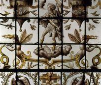 Panneau de vitrerie civile à décor de grotesques:L'AIR ET JUPITER. Ec.3