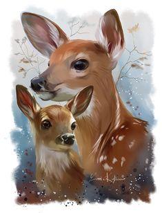Wildlife: Sika deer by Kajenna Animal Paintings, Animal Drawings, Cute Drawings, Deer Paintings, Deer Pictures, Art Pictures, Deer Art, Wildlife Art, Art Inspo