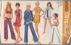 MOMSPatterns Vintage Sewing Patterns - Simplicity 8820 Vintage 70's Sewing Pattern BRILLIANT Mod Sailor Collar Middy Micro Mini Dress, Bra Top, Hip Hugger Bell Bottoms Pants, Pleated Skirt, Shirt MUST HAVE Size 10