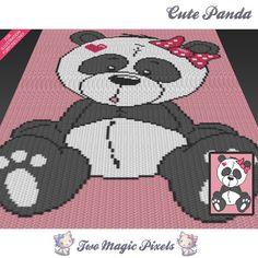 Cute Panda crochet graph/pattern; PDF download; crochet afghan/graphgan/graphghan/corner to corner/c2c