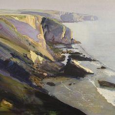 """Bob Rudd Pembrokeshire Cliffs Watercolour, 21"""" x 29""""Sold"""