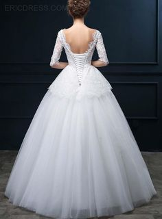 Unique V-Neck Lace Wedding Dress with Sleeves Wedding Dresses 2015- ericdress.com 11239752