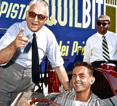 Enzo Ferrari is pictured below wearing his Rolex Chronograph Reference 3055. He is pictured with American driver, Phil Hill who is the only American born Formula One driver to ever win the World's Drivers' Championship. (Mario Andretti was born in Italy).