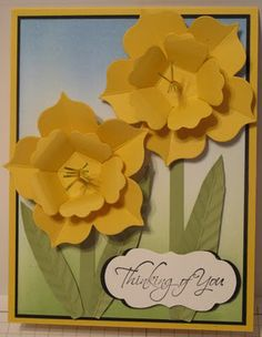 Stamps:  Kind and Caring Thoughts Ink:  Pear Pizzazz, Bashful Blue, Marina Mist, Basic Black Cardstock:  Daffodil Delight, Basic Black, Whisper White, Pear Pizzazz Big Shot Dies:  Fun Flowers, Lots of Tags Label 1 Other:  Crimper, brayers