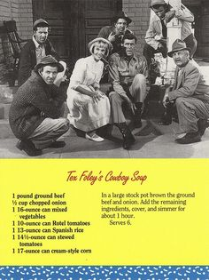 Mayberry Tex Foley's Cowboy Soup Recipe Postcard