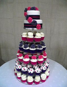 pink and purple cupcake tower