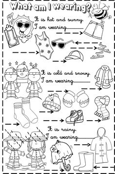 weather and clothes weather and clothes worksheet weather and clothes weather and clothes worksheet English Primary School, Teach English To Kids, Teaching English, Learn English, English Activities For Kids, School Age Activities, Preschool Education, Vocabulary Activities, Teaching Activities