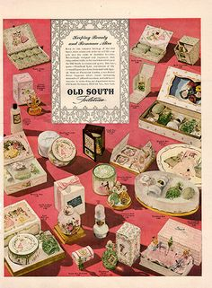 """1942 Old South Toiletries Original Print Ad -An original vintage 1942 advertisement, not a reproduction -Measures approximately 10"""" x 13"""" to 11"""" x 14"""" -Ready for matting and framing."""