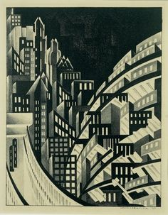 Louis Lozowick / New York / 1925 / lithograph / at the Whitney - This would make an awesome black and white quilt! I see black piping everywhere!