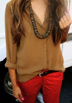 Just bought myself a pair a red trousers and so going to do this look!