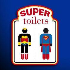 Hell Yeah Superman-n-Wonder Woman Superhero Bathroom, Superhero Classroom, Superhero Party, Anniversaire Wonder Woman, Bathroom Signage, Bathroom Doors, Super Hero Activities, Superman Wonder Woman, Bathroom Kids