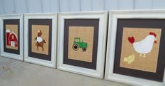 Farm Animal Nursery Decor / Kid's Wall Art Prints on Burlap 8x10 Set of 4 / Children's Wall Art.