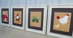 Farm Animal Nursery Decor / Kid's Wall Art Prints on Burlap 8x10 Set of 4 / Children's Wall Art.