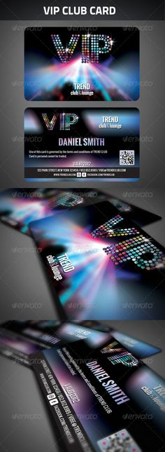 VIP Club Membership Card #GraphicRiver VIP Club Membership Card Zip File contains 2 PSD File layered, print ready CMYK at 300dpi. Size: 3.4 inc X 2 .2 inc Free fonts used in design, details in readme.txt, you will also find instructions how to generate the QR codes. Created: 5July12 GraphicsFilesIncluded: PhotoshopPSD Layered: Yes MinimumAdobeCSVersion: CS PrintDimensions: 3.4x2.2 Tags: black #card #club #dark #invitation #member #membership #modern #owner #party #pass #vip