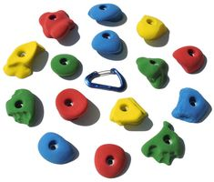 Atomik Climbing Holds - Bolt-Ons (Set of 15) - Mixed Bright Colors