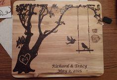 Wedding Tree with swing and birds Wood Burnt Cutting Board