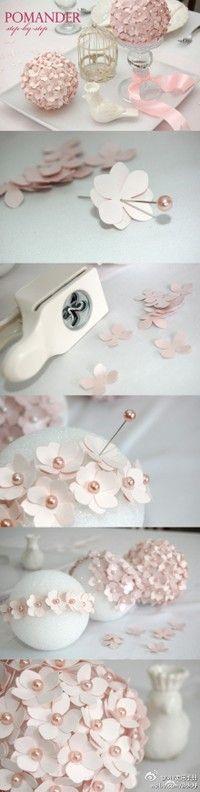 Pearl pins, flower punch, styrofoam ball
