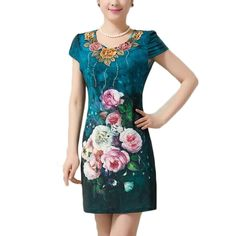 L~5XL 2015 New Fashion V-neck Flower Embroidery Print Large Size Slim Bodycon Bandage Tunic Thin Midi Women Summer Dress ZL3174