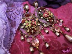Lavender Rose Shabby Chic Chandelier EarringsPurple Bow by kerala, $72.00