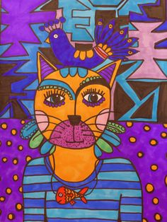 My own drawing #Catz #Mexican #folk #art 3 color