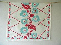 Vintage Tea Towel, Mint green, Red on Etsy, $11.00