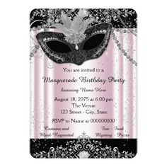 Masquerade Party Invitations Pink and Black Glitter Masquerade Party Card
