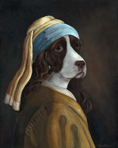Spaniel With A Pearl Earring 5x7 print by OldWorldPetPortraits, $9.95. Carol Lew... Is anyone else loving !these? I'm overjoyed with these images
