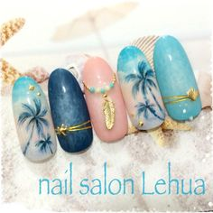 58 Hottest Beach Nail Ideas Designs for Summer Free pattern and Tutorials . : 58 Hottest Beach Nail Ideas Designs for Summer Summer Vacation Nails, Summer Nails, Cute Nails, Pretty Nails, Nail Art Halloween, Sea Nails, American Nails, Manicure Y Pedicure, Nail Decorations