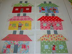 Houses from the bee in my bonnet book called Quilty Fun.