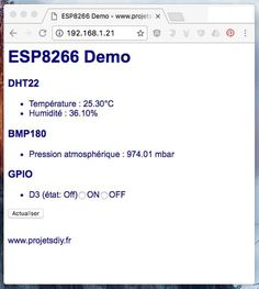 Tutorial ESP8266: how to create a web server to create an HTML interface. Arduino code example of a mini weather station DHT22 + BMP180 + GPIO