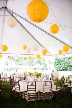 Lighting and lanterns + decor by Elegance and Simplicity.  K. Thompson Photography - via www.eleganceandsimplicity.com #yellow #wedding