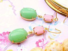 Retro Green Pink Earrings Vintage Repurpose Pink by Sweetystuff, £16.00