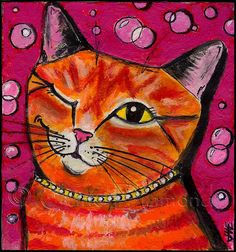 orange cat painting