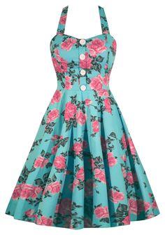 Retro Mint Floral Print Dress