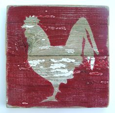Farm Art Rooster On Reclaimed Picket Fencing Wood