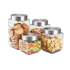 Glass Kitchen Canister Set Round Stainless Steel Lids Counter Custom Glass Kitchen Containers Design Ideas