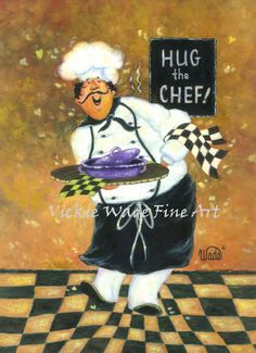 Hug the Chef Art Print fat chef prints, chef paintings, whimsical chefs,  chef art, rust, checks, kitchen art, cook, waiter, restaurant art